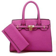 Top Rate2 PCS/Set Handbags Dompet Panjang Tas Bahu Platinum Top-handle Women Bag Lock Messenger Bags Herald Fashion Baru Kedatangan Rose-Intl