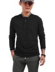 TOP SALE Fashion Stand Collar Lengan Panjang Solid POLO T-Shirt Top (Hitam)-Intl