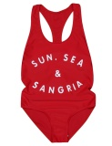 Top Sale Women One Piece Swimsuit U Neck Padded Letter Print High Cut Swimwear Beach Wear Red Intl Not Specified Murah Di Tiongkok