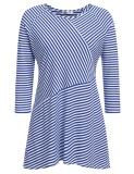 Harga Top Dijual Women Plus Ukuran Casual Striped Lengan Tiga Perempat O Leher Asimetris Tee Pullover Longgar Atasan Rajut T Shirt Biru Dan Putih Intl Di Tiongkok