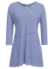 Diskon Top Dijual Women Plus Ukuran Casual Striped Lengan Tiga Perempat O Leher Asimetris Tee Pullover Longgar Atasan Rajut T Shirt Biru Dan Putih Intl
