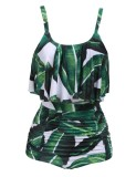 Review Top Sale Women S Spaghetti Strap Ruffles Print Ruched High Waist B*k*n* Set Swimsuit Green Intl Terbaru