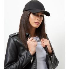 Topi Basebal Hitam Polos Baseball Black Felti Hat Import - 5Cbddd