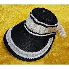 Topi Benang/Topi pantai / topi matahari-HITAM /mawar88shop