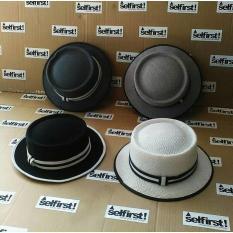 Topi Bulat Bundar Artis Kekinian Porkpie Hat - 3773Dd