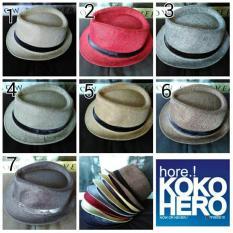 Topi Fedora Knitted Straw Polos Dewasa Linen Strip Hat Import