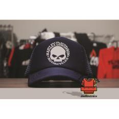 Cara Beli Topi Trucker Harley Davidson Skull Navy Blue