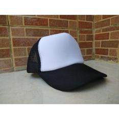 Topi Trucker POLOS Snapback Lidah lurus putih hitam