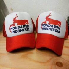 TOPI TRUCKER(JARING-JARING) HONDA WIN INDONESIA-PUTIH-MERAH