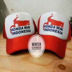 TOPI TRUCKER(JARING-JARING) HONDA WIN INDONESIA PUTIH-MERAH