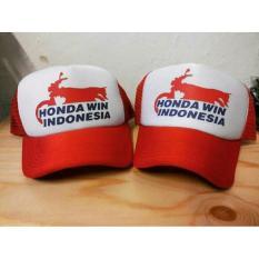 topi trucker(jaring-jaring) honda win indonesia,putih-merah