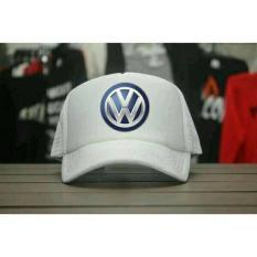 topi trucker(jaring-jaring) logo volkswagen/vw,putih
