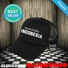 #TopiPria RLUCK8888 TOPI JARING TRUCKER INDONESIA TANAH AIR BETA - HITAM