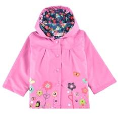 Toprank Arshiner Anak-anak Lucu Gadis Bunga Bertudung Panjang Lengan Jaket Anti-Air Jas Hujan Luar Atasan (Merah Muda)-Internasional