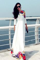Harga Peringkat Teratas Musim Gugur Bunga Cetak Wanita Gaun Maxi Club Pesta Gaun Panjang 3 4 Lengan Gaun Elegan Putih Termurah