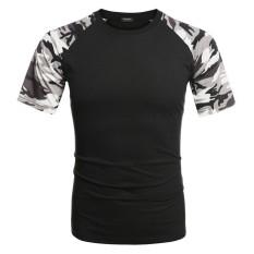 Toko Toprank Coofandy Pria Fashion Kasual Bulat Leher Raglan Lengan Pendek Kamuflase Kain Perca T Shirt Tops Hitam Intl Online Terpercaya