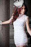 Review Terbaik Toprank Curto Leher O Berlengan Pendek Musim Panas Gaun Koktail Trim Renda Gaun Mini Ropa Mujer Putih