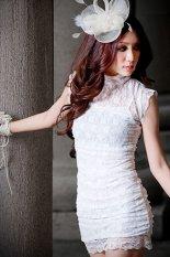 Beli Toprank Curto Leher O Berlengan Pendek Musim Panas Gaun Koktail Trim Renda Gaun Mini Ropa Mujer Putih Tiongkok