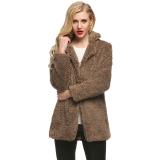 Toko Toprank Finejo Kasual Wanita Berbulu Bulu Imitasi Jaket Mantel Hangat Padat Lurus And Panjang Pakaian Mantel Dril Yang Bisa Kredit