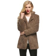 Spesifikasi Toprank Finejo Kasual Wanita Berbulu Bulu Imitasi Jaket Mantel Hangat Padat Lurus And Panjang Pakaian Mantel Dril Yang Bagus