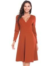 Toprank Finejo Wanita Elegan Lengan Panjang Polos Pembungkus Leher-v Garis Sebuah Gaun (Kopi)-Internasional