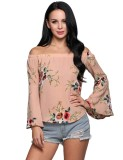 Beli Toprank Floral Print Off The Shoulder Slash Neck Bell Sleeve Pullover Top Neutral Intl Not Specified Murah