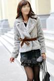 Harga Toprank Korea Rambut Kelinci Faux Fur Coat Jaket Fluffy Outwear Pendek Belted Grey Terbaru