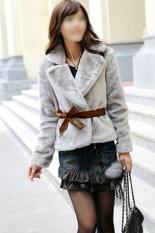 Toko Toprank Korea Rambut Kelinci Faux Fur Coat Jaket Fluffy Outwear Pendek Belted Grey Di Indonesia