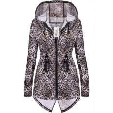 Toprank Meaneor Baju Baju Wanita Fishtail Pinggang Drawstring Bertudung Panjang Raincoat (Kopi)-Internasional