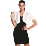 Promo Toprank Meaneor Wanita Sifon Tipis Lengan Pendek Cropped Bolero Shrug Cardigan Top Putih Intl