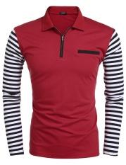 Toprank Men Menanggalkan Collar Long Sleeve Stripe Terbuat dari Food Grade Paper Cocok Digunakan Sebagai Amplop, untuk Me Patchwork Zip-up Polo T-Shirt (Merah)-Intl