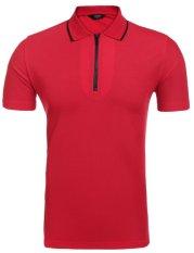 Toprank Men Matikan Collar Lengan Pendek Resleting Solid POLO T-Shirt (Merah)-Intl