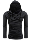 Beli Toprank Men S Cowl Neck Long Sleeve Solid Casual Hooded Hoodie Sweatshirt Black Intl Secara Angsuran