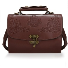 Beli Barang Toprank New Fashion Women Synthetic Leather Vintage Style Shoulderbag Casual Retro Handbag Brown Intl Online