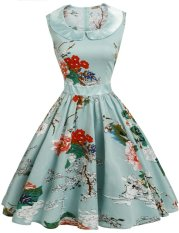 Toprank Women Casual Doll Collar Sleeveless Prints Patchwork Contrast Color A-Line Pleated Hem Dress ( Light Blue ) - intl