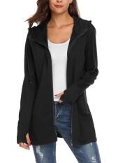 Harga Toprank Women Casual Solid Lengan Panjang Saku Ritsleting Depan Hoodie Coat Black Intl Merk Not Specified