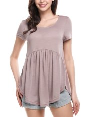 Toprank Women Casual O-Neck Short Sleeve Solid A-line Circular Arc Hem Elastic Baby Doll Tops ( ) - intl