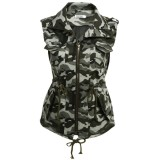 Jual Toprank Women Casual Sleeveless Solid Turn Down Collar Slim Lightweight Military Vest Army Green Intl Not Specified Di Tiongkok