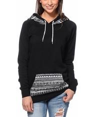 Toprank Wanita Lengan Panjang Cetak Kasual Bertudung Sweatshirt Sweter Tanpa Kancing Hoodie Pakaian Luar Atasan (Hitam)-Internasional