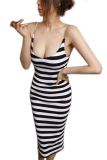 Obral Toprank Women Party Dress Spaghetti Strap Bodycon High Fashion Fitness Ladies Summer Casual Midi Dress Black Murah