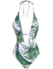 Toprank Wanita Seksi Halter Satu Kepingan Baju Renang Padded Rendah Belakang Tinggi Memotong Baju Renang (Zamrud Hijau)-Internasional