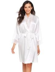 Toprank Wanita V-Neck Renda Perca Kimono Jubah Satin Gaun Tidur Sleepwear Gaun dengan Belt Gaun (Putih)-Intl