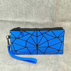 Mochila Berbahan Creative Geometric Folding PVC Clutch Bag Handbag Wanita Fashion Wristlets Koin Dompet Kosmetik Tas Biru-Internasional