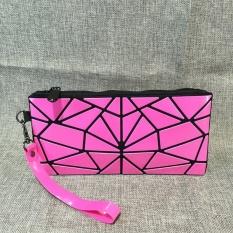Mochila Berbahan Geometris Folding PVC Clutch Bag Handbag Wanita Kepribadian Wristlets Koin Dompet Tas Kosmetik Rose-Intl