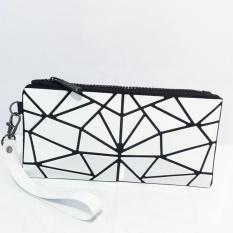 Mochila Berbahan Geometris Folding PVC Clutch Bag Handbag Wanita Fashion Wristlets Koin Dompet Tas Kosmetik Warna Putih Telepon Kantong Uang- INTL