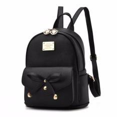 Tas ransel sekolah berbahan kulit yang tahan air model terbaik dari koleksi XYS warna hitam - intl