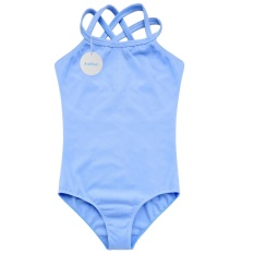 Topsellers365 Perempuan Ganda Tali Ramping Polos Kamisol Jumpsuit Romper Keseluruhan untuk Olahraga Balet Senam (Biru)-Internasional