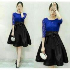 TOSERBU Dress (M - Fit L) MEILAN BLUE - Brokat Furing Kombinasi Spandek Imlek