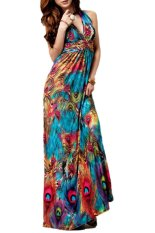 Jual Toshoon Red Flaming Peacock Feather Cetak Empire Pinggang Maxi Beach Dress Biru Not Specified Online