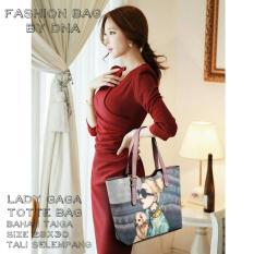 Tote Bag Korean Style Lady Gaga Fullprint - Pink